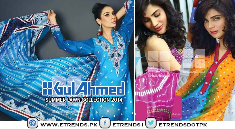 Gul Ahmed Ideas Bandhani Lawn 2014 Summer Collection For Women