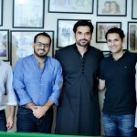Humayun with Jerjees Seja, Fahad Mirza and other guests