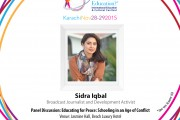 """Youth Icon Sidra Iqbal to Moderate Panel Discussion on """"Educating for Peace: Schooling in an Age of Conflict"""" at School of Tomorrow Festival 2015"""