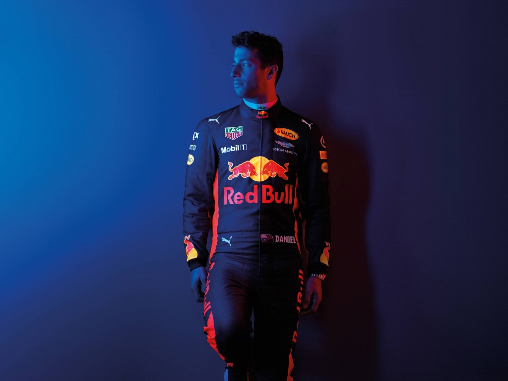 Daniel Ricciardo poses for a portrait during a studio shoot in London, United Kingdom on February, 2017